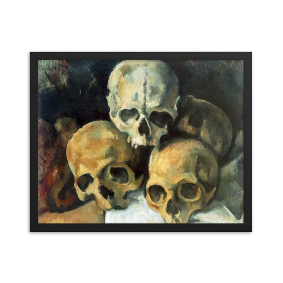 "Pyramid Of Skulls, 20"" x 16"" Framed Giclée Poster, Black Wood Frame, Acrylic Covering, Paul Cezanne"