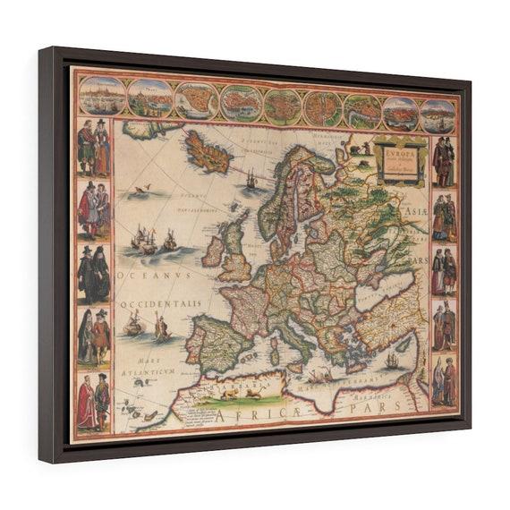"17th Century Map Of Europe, 24""x18"" Framed Gallery Wrap Canvas, Willem Blaeu, Circa 1635, Room Decor"