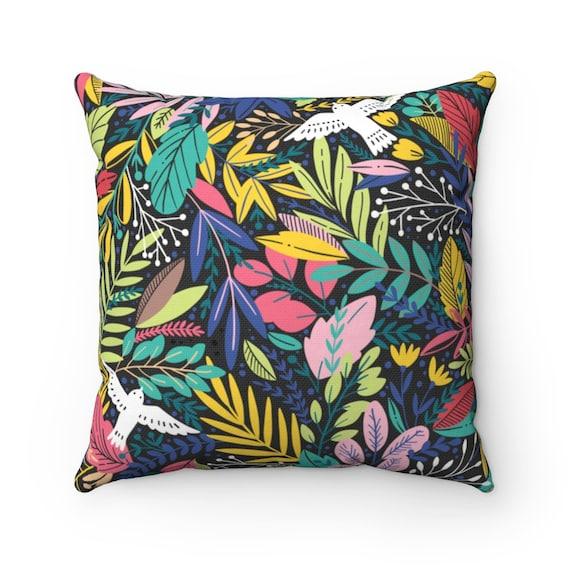 Retro Jungle Floral Square Pillow