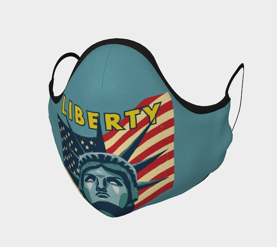 Lady Liberty, Face Mask With Filter Pocket, Filters Included, 7 Sizes, 100% Cotton, Statue Of Liberty, Patriotism, Activism
