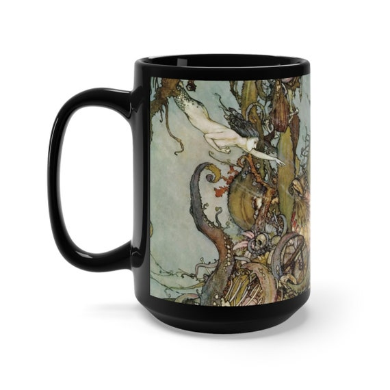 Davy Jones Locker, Black 15oz Ceramic Mug, Little Mermaid, Kraken, Vintage Illustration, Edmund Dulac, 1911, Coffee, Tea