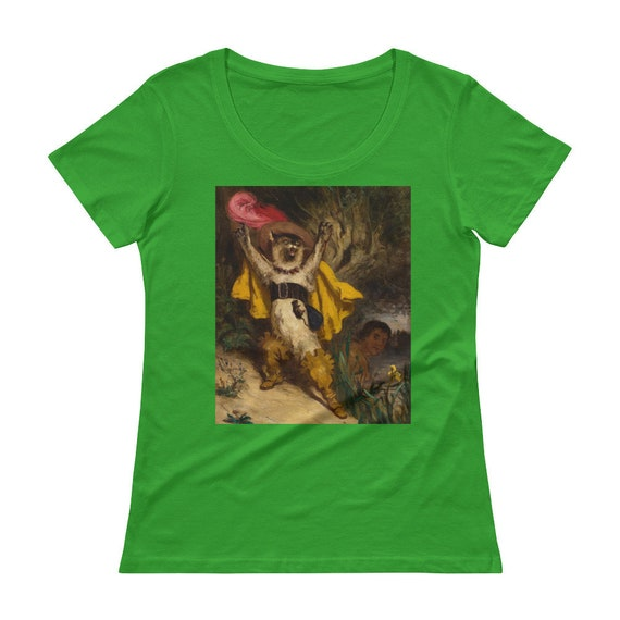 Puss In Boots, Ladies' Scoop Neck T-Shirt, Vintage, Antique Painting, Gustave Dore, 1870