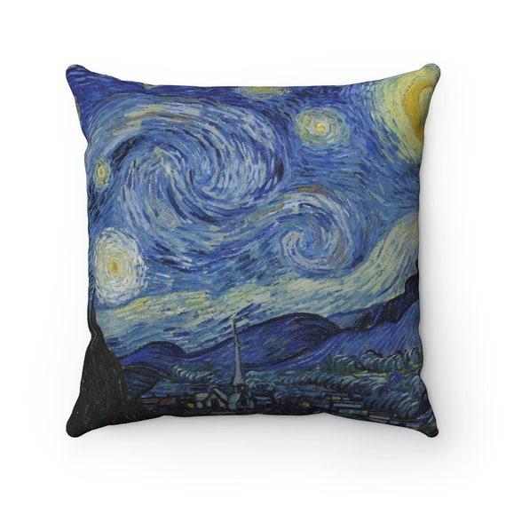Starry Night v2 Square Pillow, Van Gogh, Impressionism
