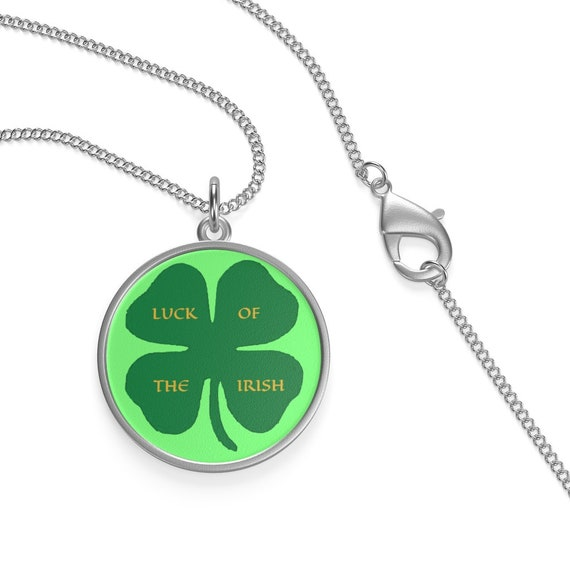 "Luck Of The Irish, 16"" Sterling Silver Necklace, St. Patrick's Day, Four Leaf Clover, Ireland"