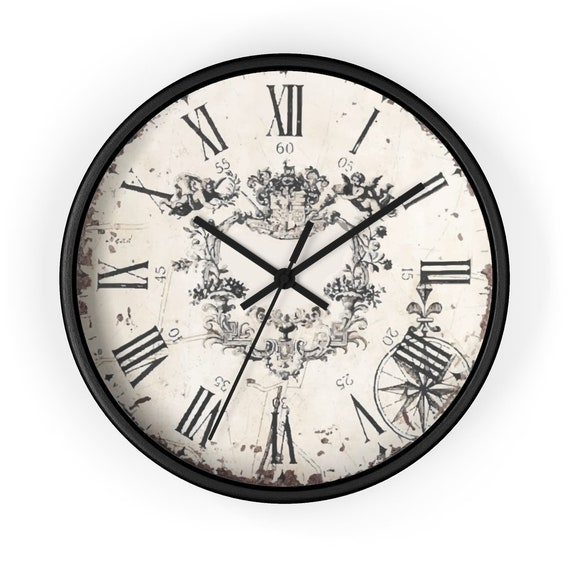 "Vintage Style 10"" Wall Clock, Roman Numerals, Distressed Look, Ornate Center Design"