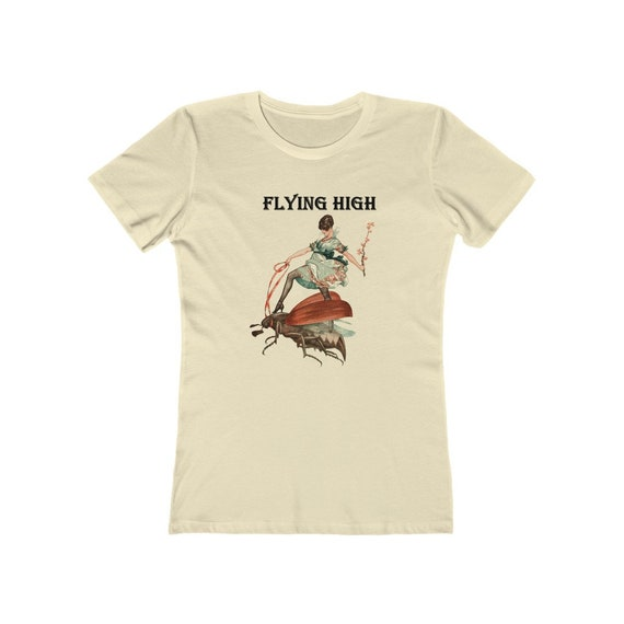 Flying High, Women's Boyfriend Tee, Vintage Illustration, Jazz Age Woman Riding A Large Flying Insect