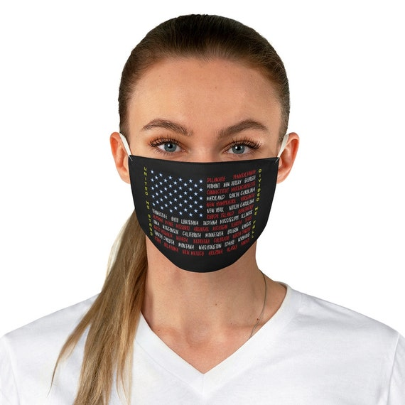 United We Stand, Cloth Face Mask, Washable, Reusable, American Flag, States, Patriotic, Patriotism, Activism