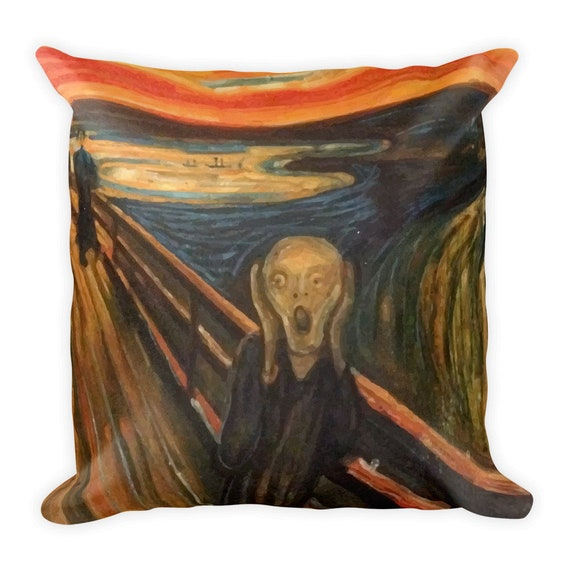 "The Scream, 18"" Square Pillow, Vintage, Antique Painting, Edvard Munch, 1893"