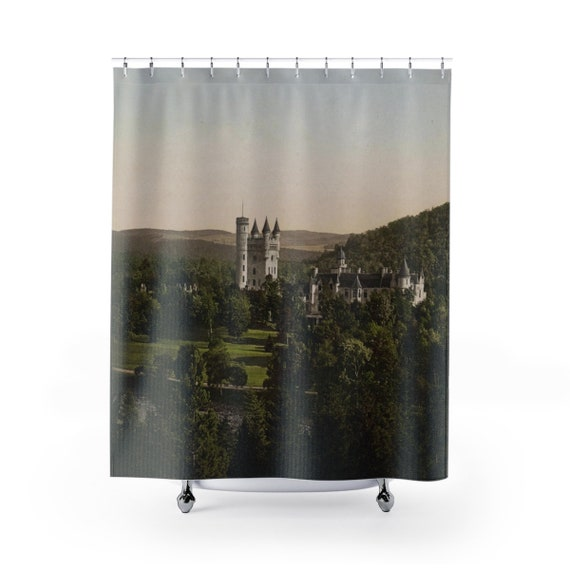Balmoral Castle, Scotland - Polyester Shower Curtain - From An Antique Vintage Postcard, Circa 1890 To 1906.