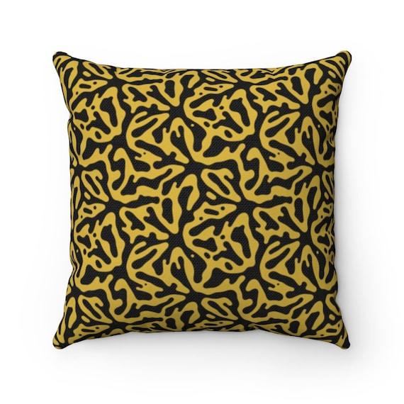 Gold & Black Square Pillow, Vintage, Retro