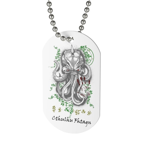 Cthulhu Dreams, Dog Tag, Vintage Inspired H.P. Lovecraft Design
