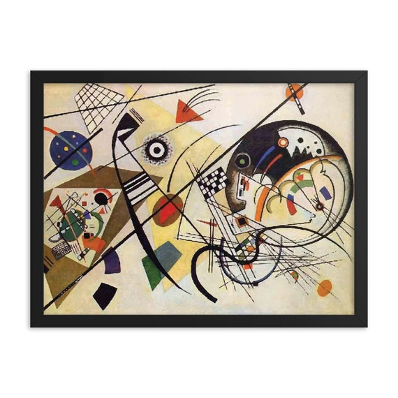 """Transverse Line, 24""""x18"""" Framed Giclée Poster, Black Wood Frame, Acrylic Covering, Wassily Kandinsky, Abstract"""
