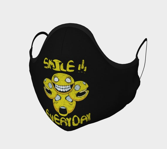 Smile Every Day, Face Mask With Filter Pocket, Filters Included, 7 Sizes, 100% Cotton, Anxiety, Anxious, Stress
