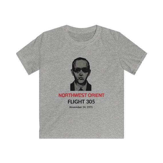 DB Cooper T-shirt, Kid's Sizes S-XL, Vintage Retro Design, Northwest Orient Flight 305 11/24/1971
