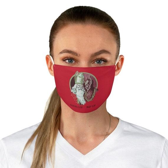 Good Cop, Bad Cop, Cloth Face Mask, Washable, Reusable, Christmas, Santa Claus, Krampus, St. Nicholas, Humorous, Funny, XMAS Gift