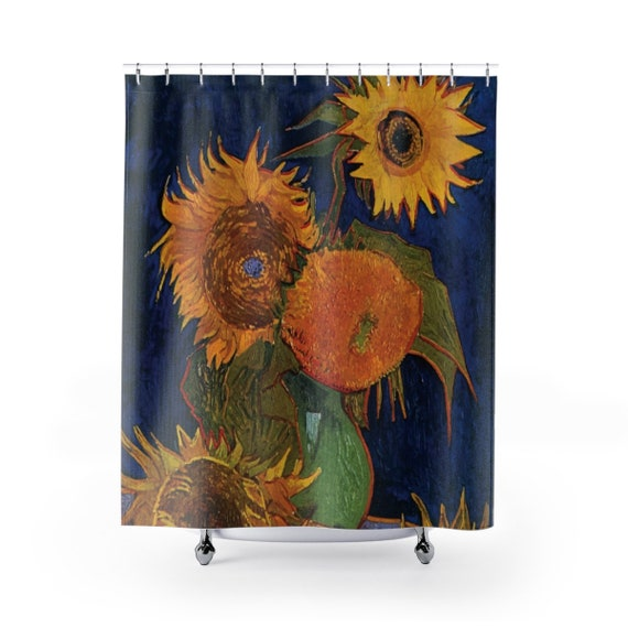 Six Sunflowers, Polyester Shower Curtain, Vintage Painting, Van Gogh 1888