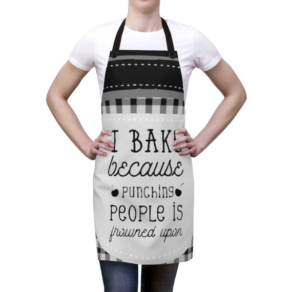 I Bake Because Punching People Is Frowned Upon v2, Cookout Apron, Vintage Inspired
