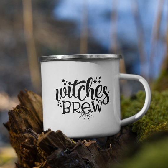 Witches Brew Enamel Mug, Camp Mug, Outdoor, Witchcraft, Coffee, Tea