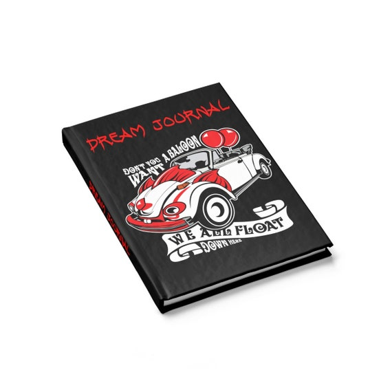 Scary Clown Car Dream Journal, Hardcover, Ruled Line, Inspired By The Horror Movie IT