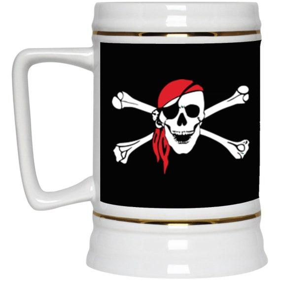 Skull & Crossbones 22oz Beer Stein, Pirate Flag, Jolly Roger