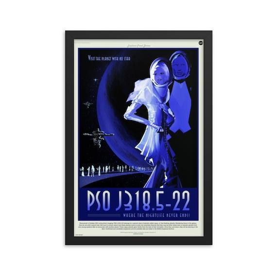 "Exoplanet Travel Bureau #6 of 7, 12"" x18"" Framed Poster, Black Wood Frame, Acrylic Covering, Fake Vintage/Retro Style NASA Travel Poster"