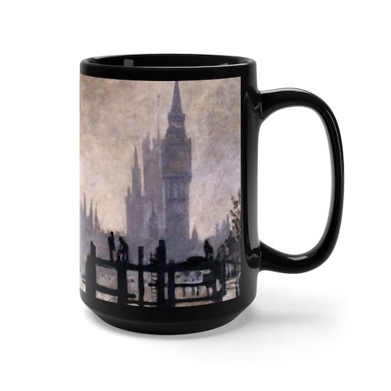 The Thames below Westminster Large Black Ceramic Mug, Claude Monet, Coffee, Tea