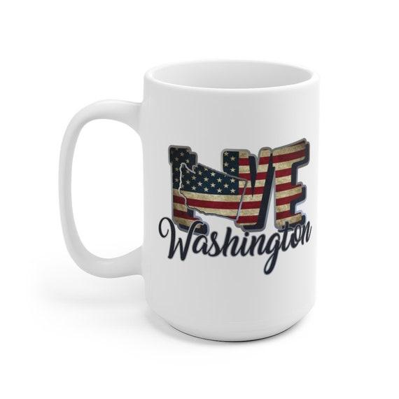 I Love Washington, Large White Ceramic Mug, Vintage Retro Flag, Patriotic, Patriotism, United States, Coffee, Tea