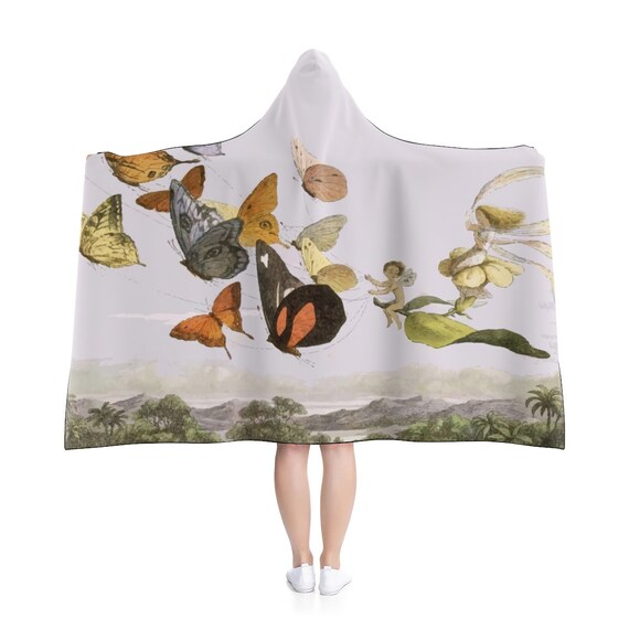 "Fairy Queen, 80""x56"" Hooded Blanket, Vintage Illustration"
