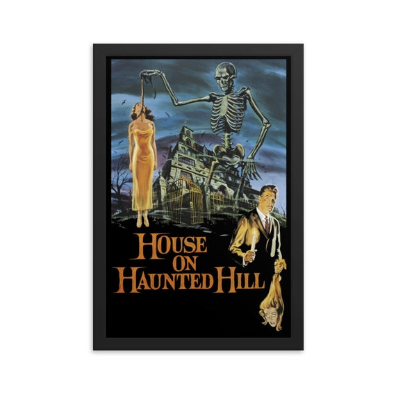 "House On Haunted Hill, 12"" x18"" Framed Giclée Poster, Black Wood Frame, Acrylic Covering, 1959 Campy Horror Movie Poster, Wall Decor"