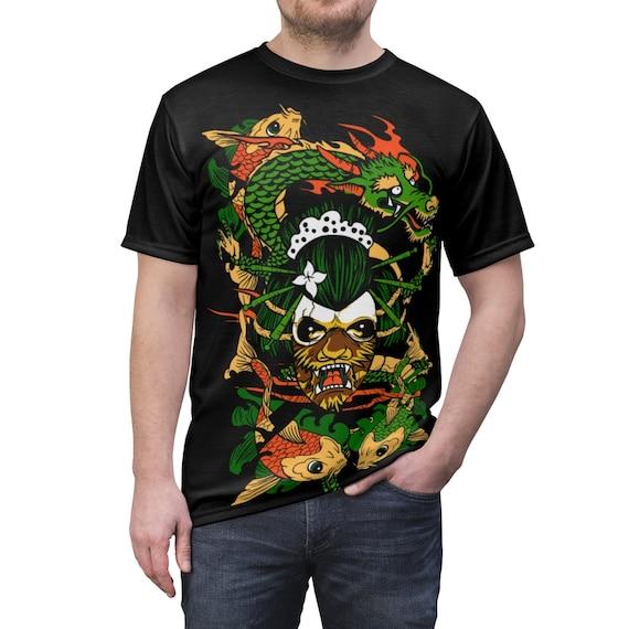Yokai & Dragon Shirt, Vintage Retro Style Design, Japanese Folklore