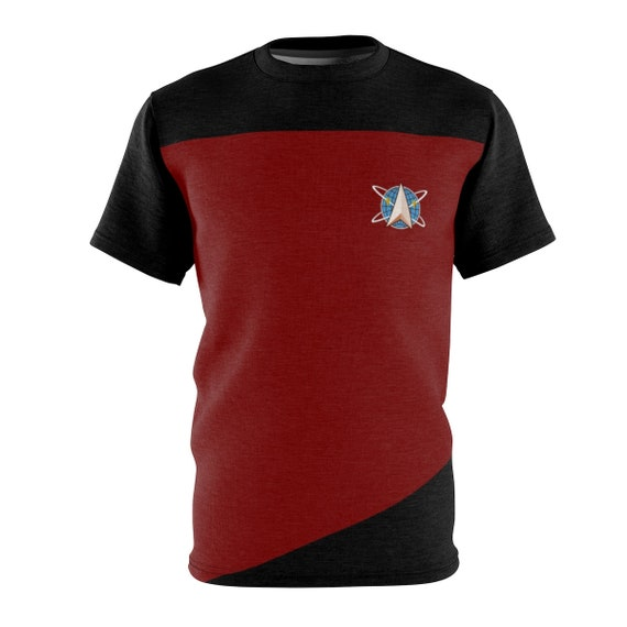 Space Command Red Shirt, Unisex T-shirt, Inspired From Star Trek The Next Generation, AOP