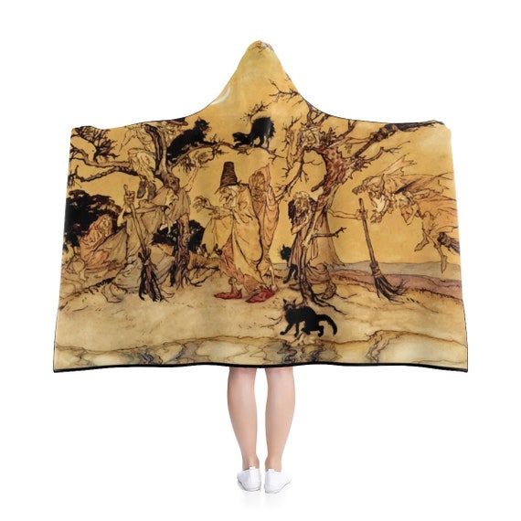 "Black Cats & Witches, 80""x56"" Hooded Blanket, Halloween, Arthur Rackham, 1920"