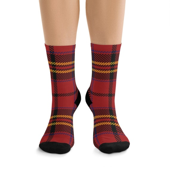 Red & Gold Plaid Premium Crew Socks, One Size Fits Most