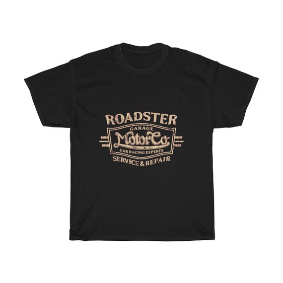 The Roadster Garage Motor Co. - Unisex Heavy Cotton Tee With Vintage Inspired Image Of An Old Garage Sign.