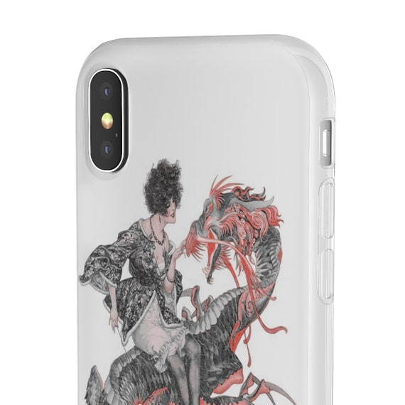 Lady Dragon Rider, iPhone Flexi Case, Woman Riding A Dragon, Vintage, Antique Jazz Age Illustration