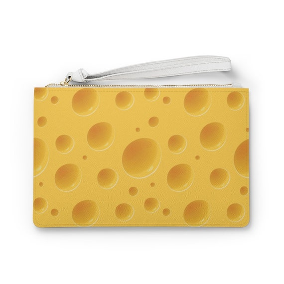 "Cheese 9""x6"" Vegan Leather Clutch Bag, Green Bay Packers Fan, Great Gift For Your Favorite Cheesehead"