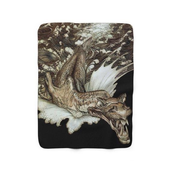Leviathan Black Sherpa Fleece Blanket, Arthur Rackham, Sea Dragon, Sea Monster, Sea Serpent