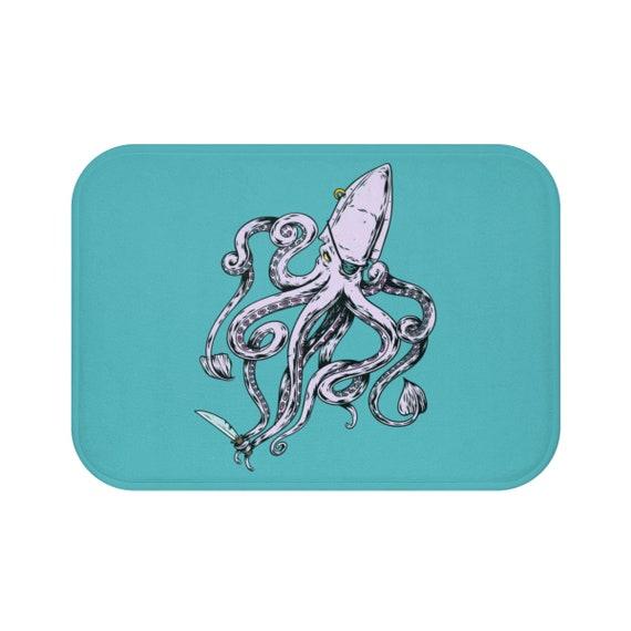 Pirate Octopus, Bath Mat, Eye Patch, Gold Earring, Knife