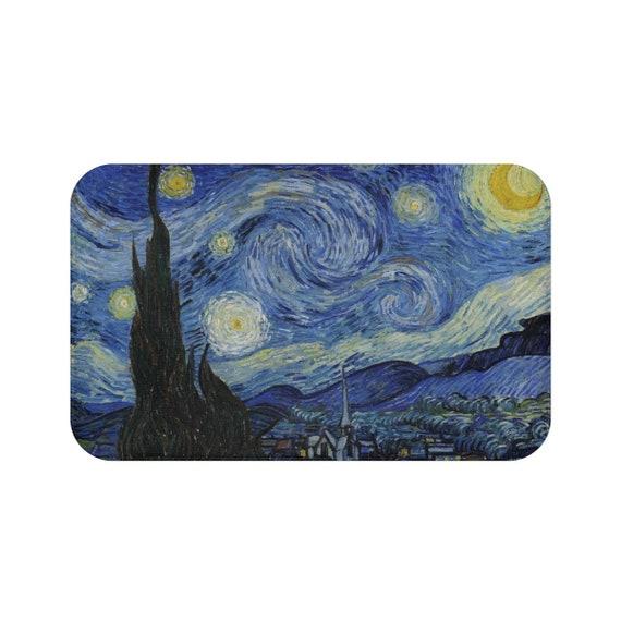 Starry Night, Microfiber Bath Mat, Vintage Painting, Van Gogh 1889