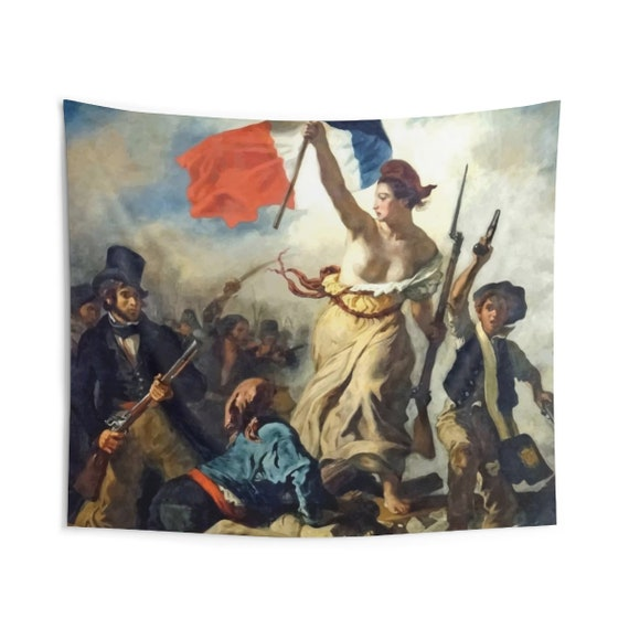 Liberty Leading The People, Indoor Wall Tapestry, Vintage, Antique Painting, Delacroix, 1830