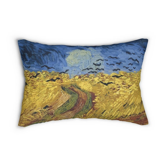 """Wheat Field With Crows 20""""x14"""" Pillow, Vincent Van Gogh, 1890"""