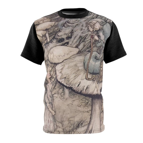 Alice Meets The Caterpillar, Unisex T-shirt, Vintage Illustrations, Arthur Rackham, 1907, AOP