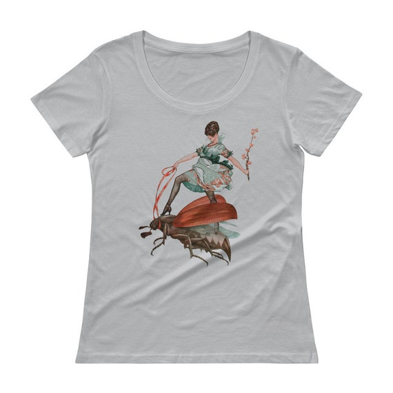 Flying High, 100% Cotton Preshrunk Ladies' Scoop Neck Tee, Vintage Jazz Age Illustration, Woman Riding Large Flying Insect