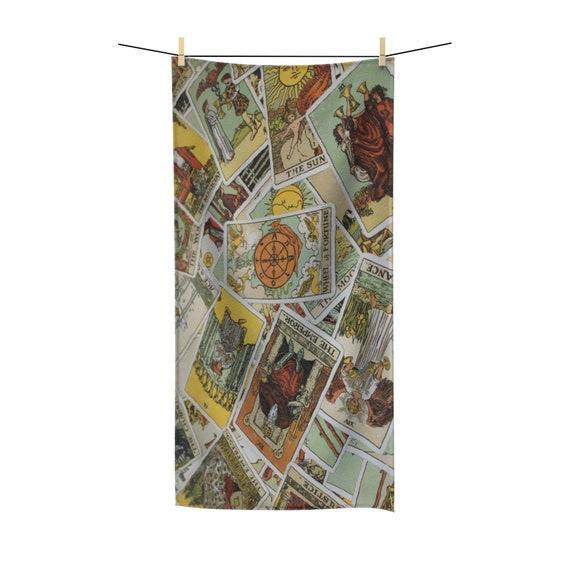 Tarot Card Bath Towel Focusing On Wheel Of Fortune, Major & Minor Arcana From A Vintage Rider-Waite Deck