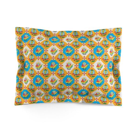 Folk Flower Patchwork Quilt Pattern, Standard Pillow Sham, Farmhouse, Country Decor