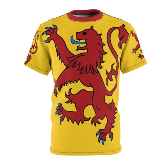 Lion Rampant of Scotland v2, Unisex T-shirt, Royal Banner of the Royal Arms of Scotland, Scottish Pride, AOP