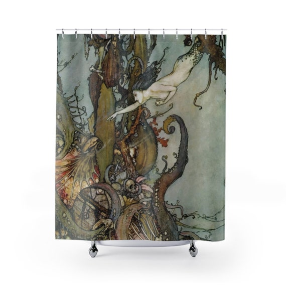 Davy Jones Locker, Shower Curtain,  Little Mermaid, Kraken, Vintage Illustration, Edmund Dulac, 1911