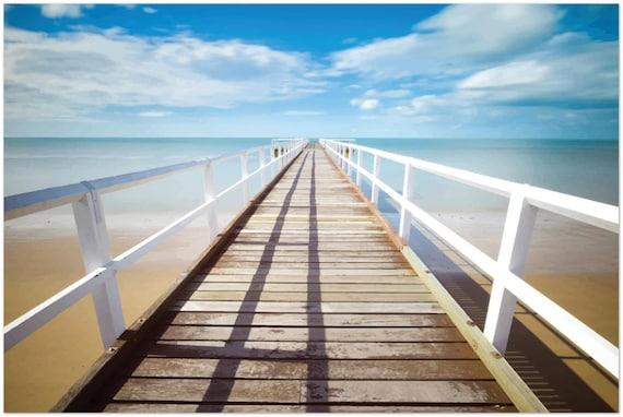 "Infinity Pier 36""x24"" Metal Print, Boardwalk, Ocean, Beach, Horizon, Room Decor"