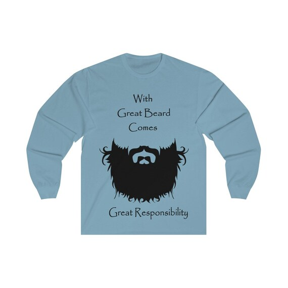 With Great Beard Comes Great Responsibility, Unisex Long Sleeve Tee, Vintage Inspired Illustration Of A Hipster Beard