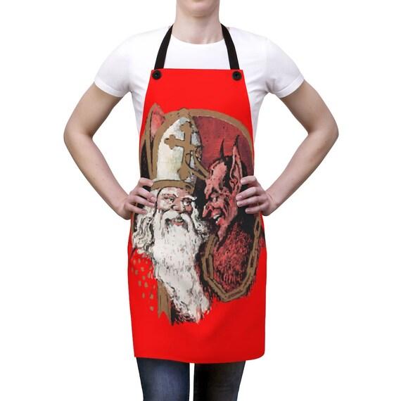 St. Nicholas & Krampus Christmas Apron, XMAS Gift